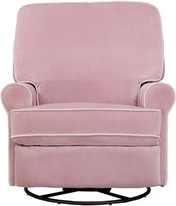 Birch Hill DS-913-006-530 Swivel Glider Recliner with Sinuous Spring Suspension Velvet Like Cover and Padded Back in Stella Pink