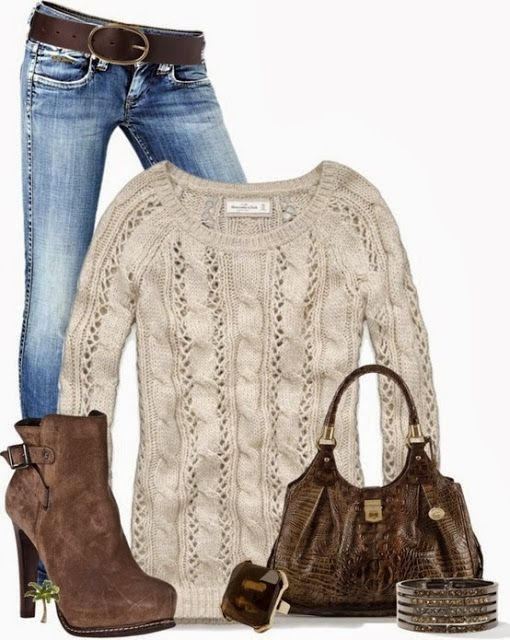 Woollen hand made sweater, jeans, high heel winter boots and hand bag