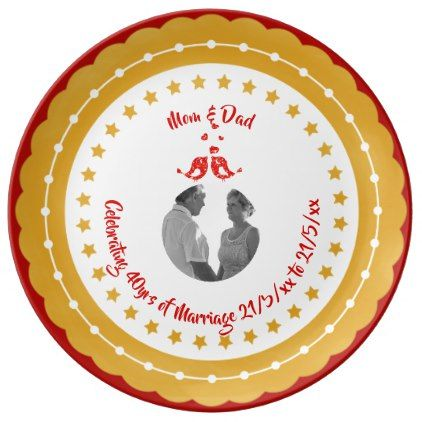40th RUBY PHOTO Wedding Anniversary Parents Red Plate - anniversary gifts ideas diy celebration cyo unique