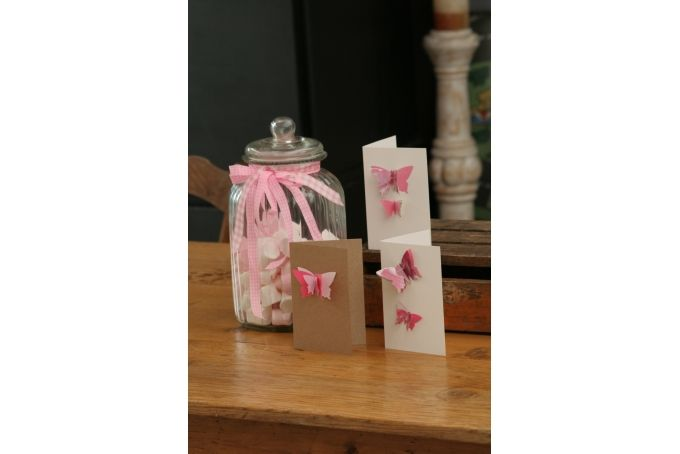 Pink Butterflies - Blank Card  by Melrose & Co