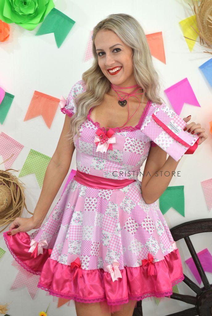 Vestido Floral Rosa Pink - Caipira Chic