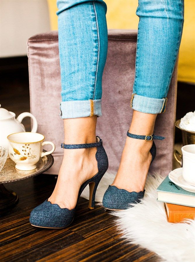 Scalloped 3 Inch Heels   3 Colors