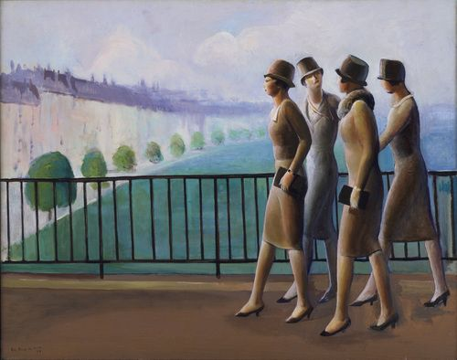 'Americans in Paris' 1927 - by Guy Pene duBois.: Dubois, Oil On Canvas