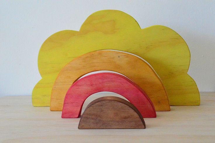 - Little Bubalishka - Waldorf Steiner Inspired Sunrise / Sunflower Wooden Stacker