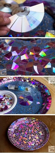 Mosaic Tile Birdbath using Recycled DVDs- just don't grout it. That makes it a fail.