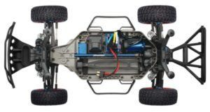 RC car Traxxas showing underneath the engine