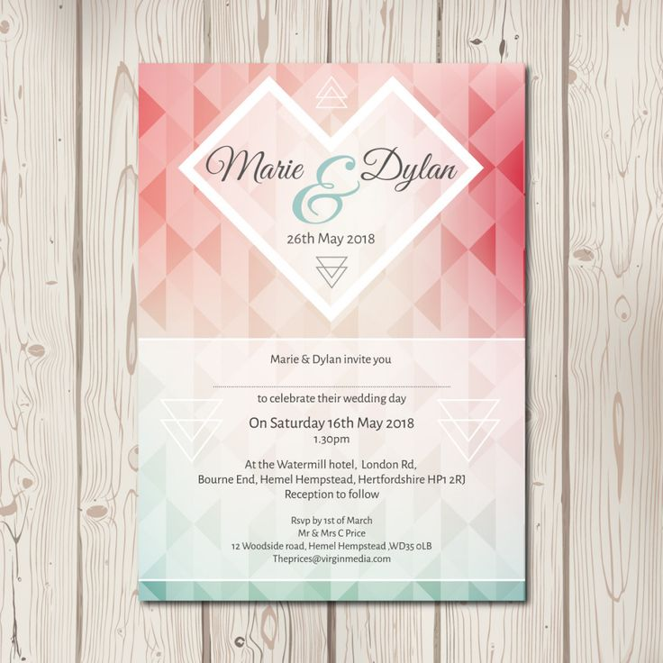 A contemporary single sided style wedding invitation, featuring a geometric pattern and heart. Perfect for a fun filled relaxed summer wedding. Shown here i