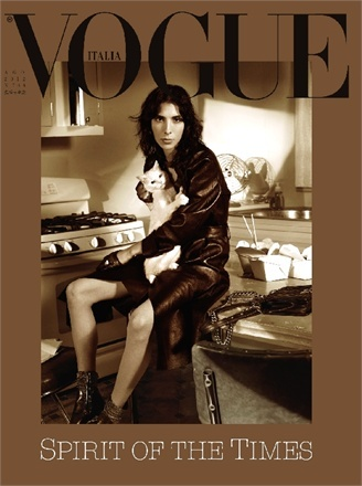 In Honor of International Cat Day, Fashion's Best Cat-itorials: Vogue Italia's August 2012 cover with Jamie Bochert: Italian Vogue, Steven Meisel, Vogue Italy, Jamie Bochert, 2012 Covers, Magazines Covers, August 2012, Cat Lady, Italia August