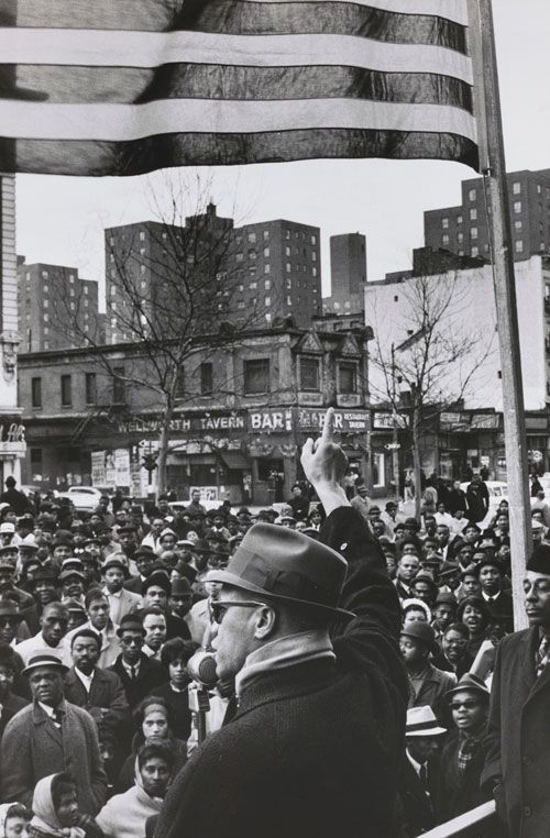 """moma: """" Malcolm X was born today in 1925. Gordon Parks captured this image of him addressing the crowd at a Harlem rally in 1963. The photograph is on view now in From the Collection: 1960–1969. [Gordon Parks. Malcolm X Gives Speech at Rally, Harlem,..."""