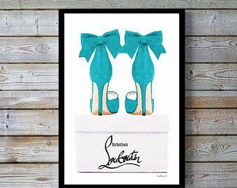 Teal, high heel shoes on shoe box, shoes,bow, fashion, watercolor, fashion illustration, shoe art,shoe art, fashion print, fashion art, gift