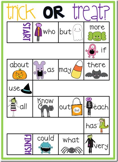 Trick or Treat Sight Word Game with free printable