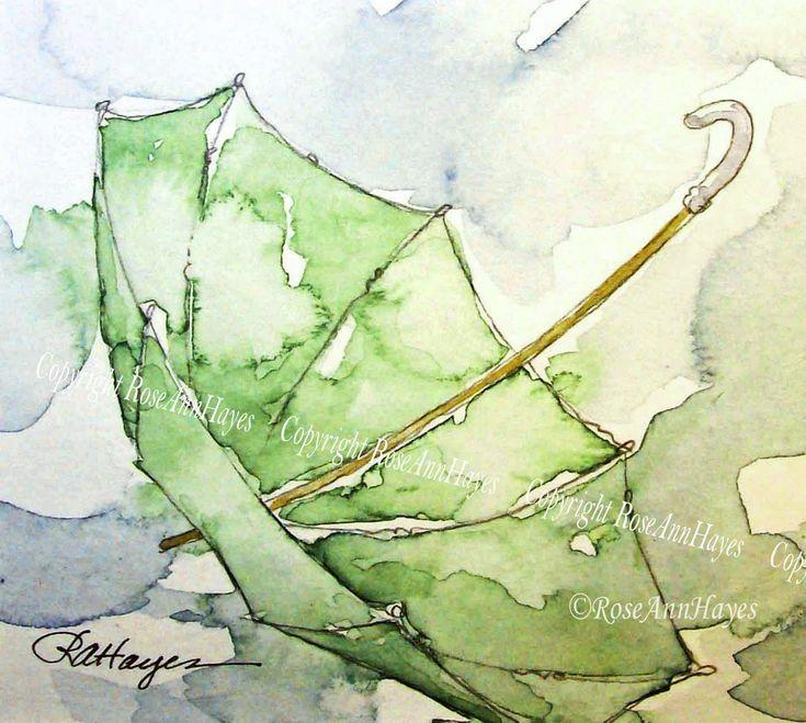 Guarda-chuva Verde na Chuva Pintura em Aquarela por … – #Verde #Pintura #rain # …   – Kochen