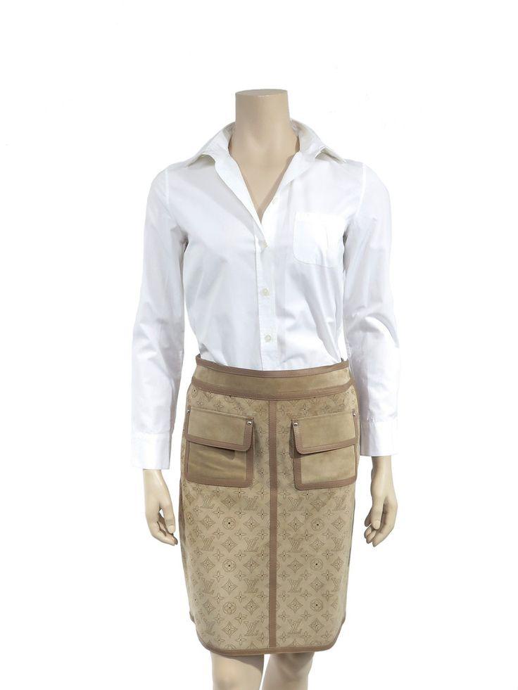 Suede Perforated Monogram Skirt www.sabrinascloset.com