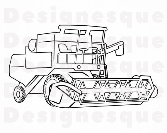 Combine Harvester Outline 2 Svg Wheat Harvester Svg Combine Etsy In 2021 Tractor Coloring Pages Combine Harvester Svg