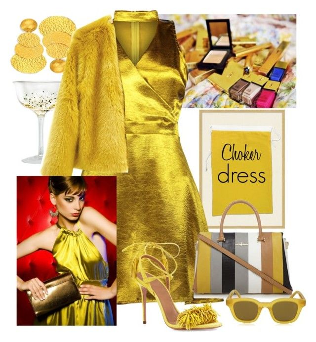 """""""Choker Dress"""" by sojazzed ❤ liked on Polyvore featuring Pottery Barn, Yves Saint Laurent, Aquazzura, Gurhan, CÉLINE and ACME Party Box Company"""