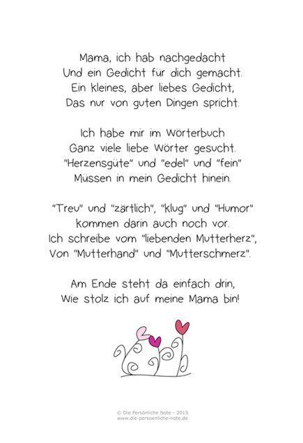 Die Persönliche Note: Freebie: Muttertagsgedicht für Kinder: Quotes