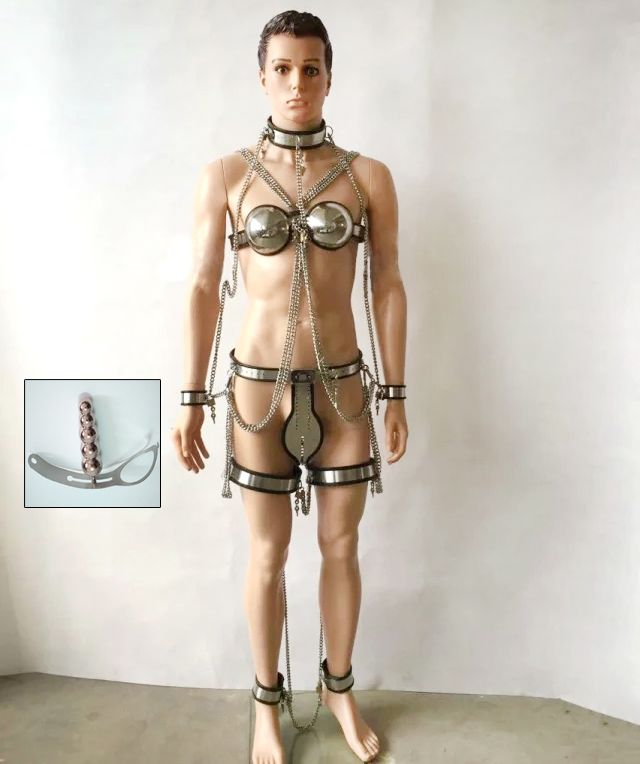 254.60$  Buy here - http://ai4zx.worlditems.win/all/product.php?id=32573358492 - 7pcs /set stainless steel bdsm bondage male chastity device(chastity belt pants+collar+bra+hand ankle cuffs+anal plug+thigh ring
