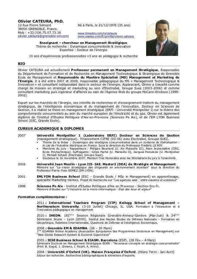 CV Enseignant Chercheur France Cv informatique