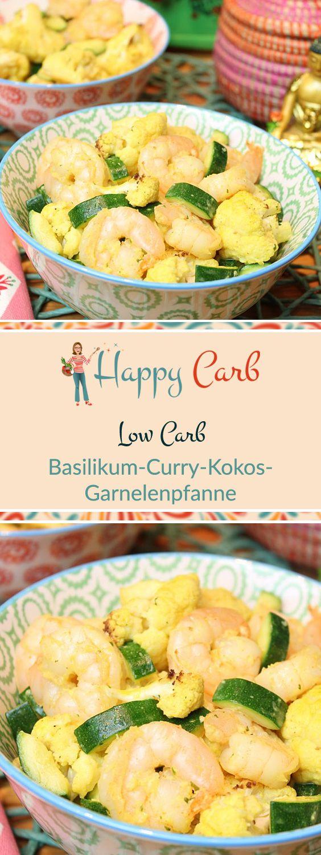 Basil Curry Kokos Garnelen Pfanne