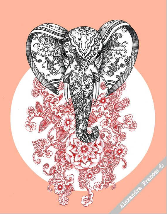 mehndi elephant illustration a3 art print tattoos. Black Bedroom Furniture Sets. Home Design Ideas