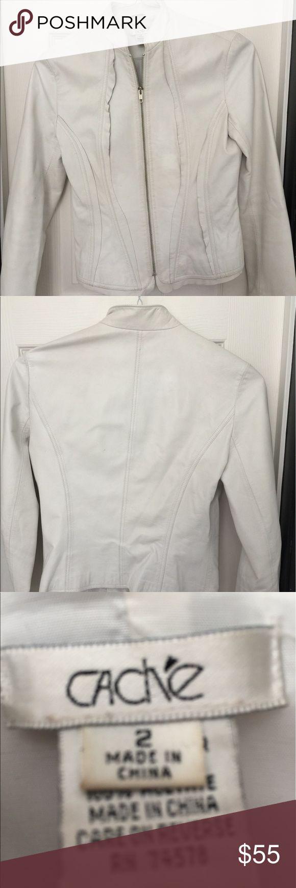Cache white leather jacket size 2 Cache white leather jacket size 2 Cache Jackets & Coats