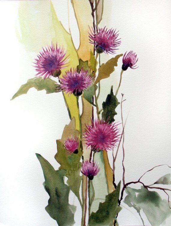 Original+not+print+watercolor+painting++Thistle+by+FluidColors