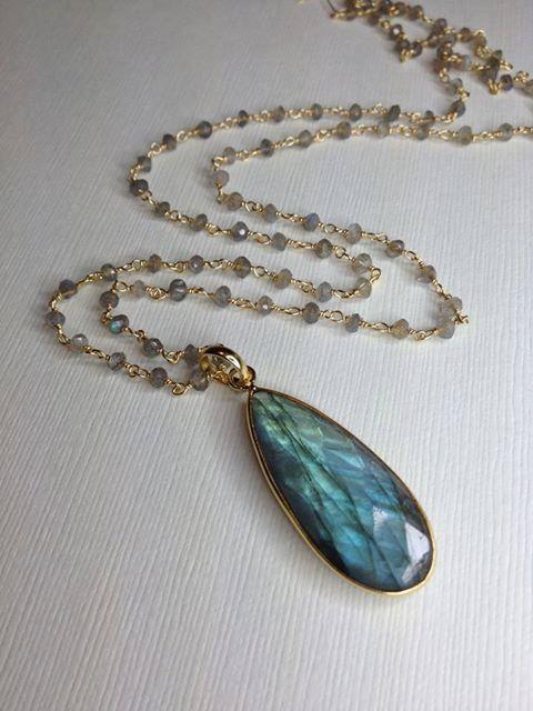 Long Labradorite Gemstone Necklace by JewelryMadebyMaggie on Etsy