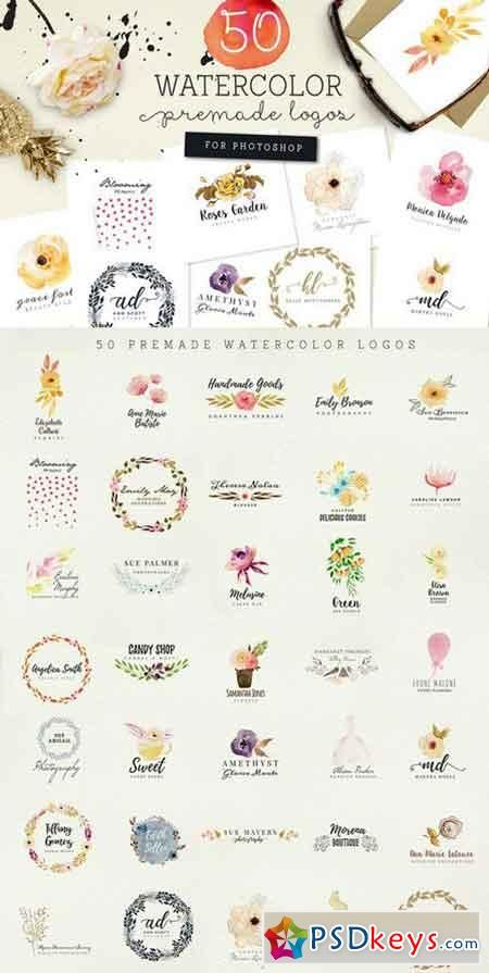 50 Premade Watercolor Logos 925773