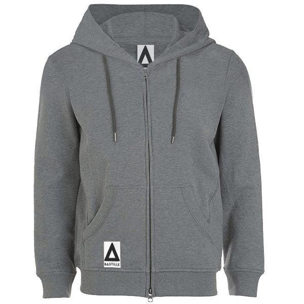 bastille grey zip up hoodie