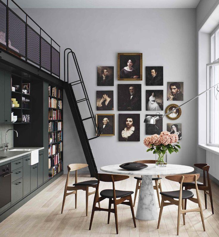 couleur, cuisine, escalier en metal, tableaux
