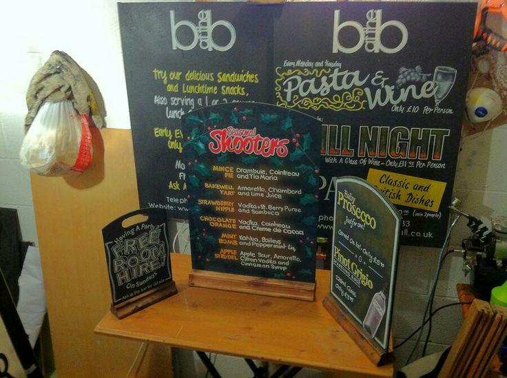 Various blackboards before framing for The Brasserie at The Bull, Halifax