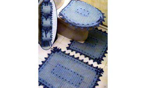Комплект ковриков для ванной комнаты. Схема вязания