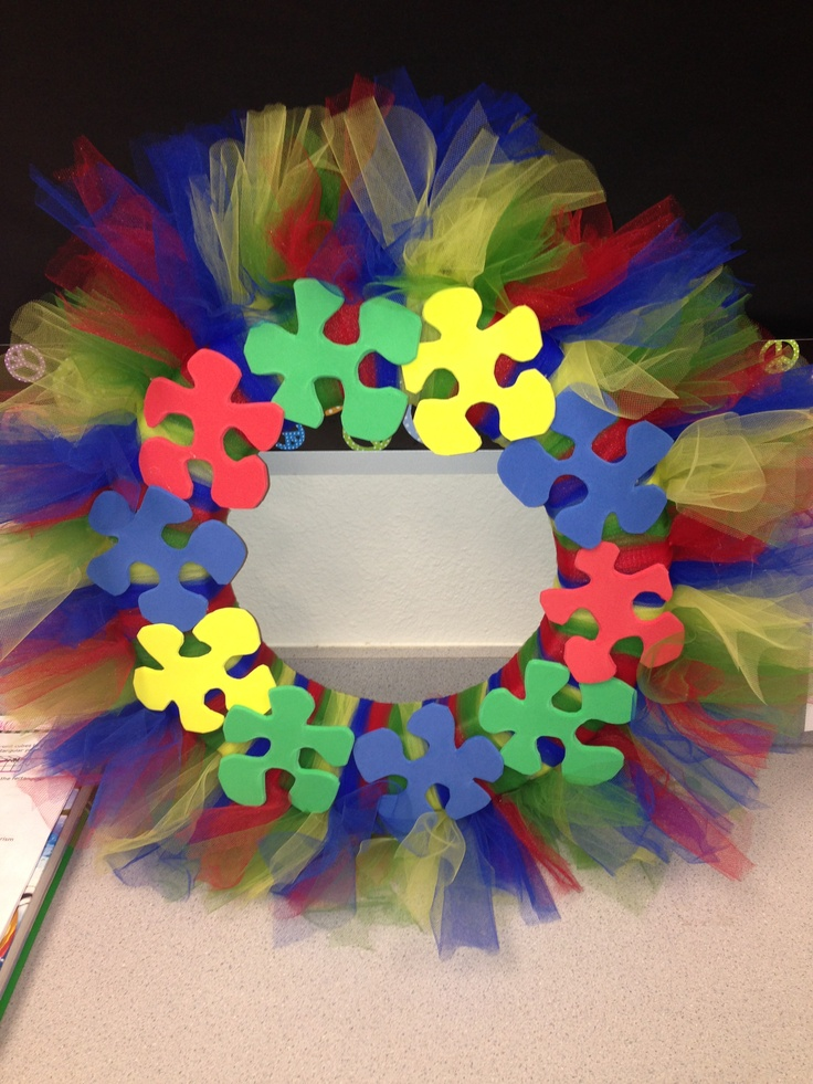Autism Awareness Wreath :)