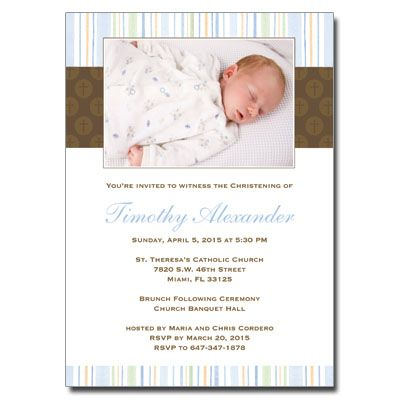 Looking for a stylish and modern Christening invitation that features your child? This is it. This card joyfully welcomes friends and family to this happy and blessed celebration. - See more at: http://christeningcards.net/Step1New.asp?Type=Christening+Invitations&front=654&cc=&itemname=Mod+Religious+Blue+Stripes+Invitation#sthash.foSMDax2.dpuf