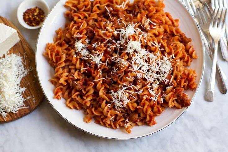 {Fusilli Alla Salsiccia} Pasta With Tomato Sugo, Sausage, and Smoked Cheese