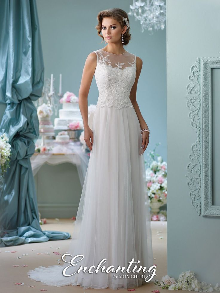 Sleeveless tulle A-line gown, hand-beaded illusion jewel neckline over sweetheart bodice, beaded illusion back with covered buttons, chapel length train. Sizes:0 – 20 Colors:Ivory, White