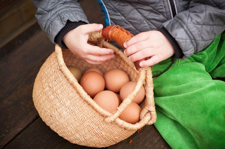 Barn med kurv med æg.