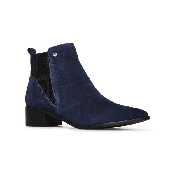 Superdry Quinn Ribbed Chelsea Boots (£65) ❤ liked on Polyvore featuring shoes, boots, ankle booties, navy, beatle boots, mid heel boots, pointy toe booties, chelsea ankle boots and pointy-toe boots