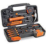VonHaus Orange 39-Piece General Tool Set  General Household Hand Tool Kit with Plastic Toolbox Storage Case