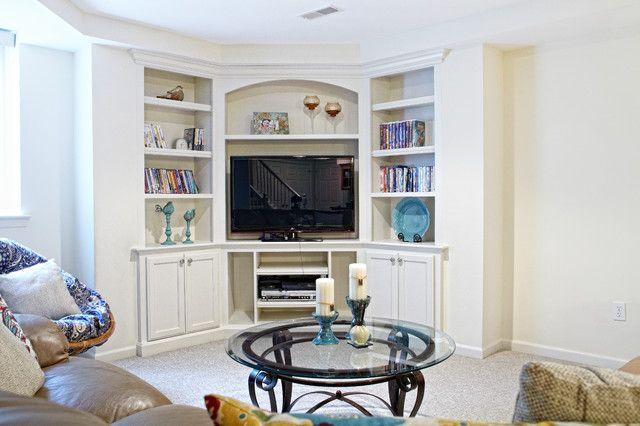 corner tv built ins family tv room pinterest