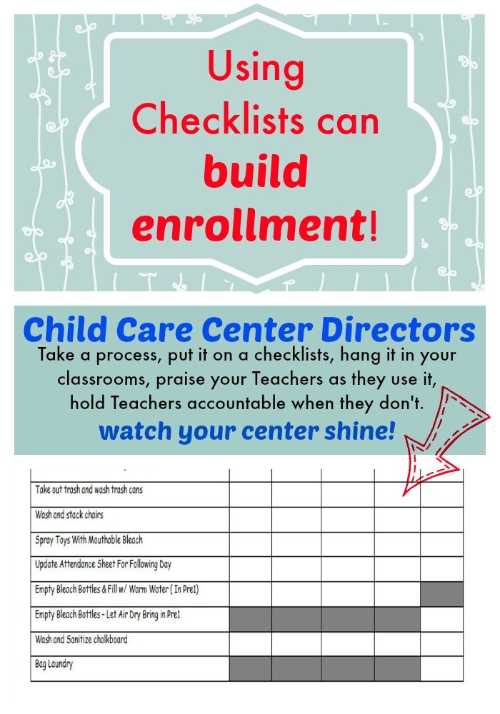 using checklists to build enrollment for child care.