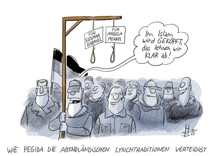 Wie PEGIDA die abendländischen Lynchtraditionen verteidigt. Bei einem wöchentlichen PEGIDA-Aufmarsch  wird auch ein Galgen mitgetragen, der laut Beschriftung für Angela Merkel und Siegmar (sic) Gabriel reserviert ist.