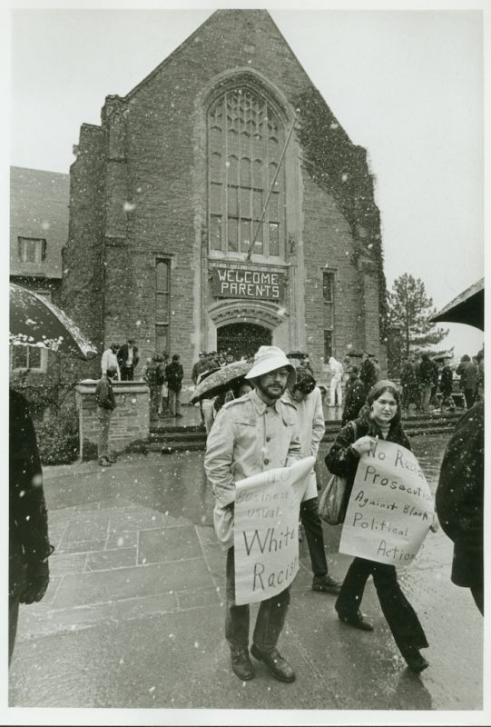 Students for a Democratic Society protesting in the snow outside of Cornell University's Willard Straight Hall prior to the Willard Straight Hall Takeover, 19 April 1969