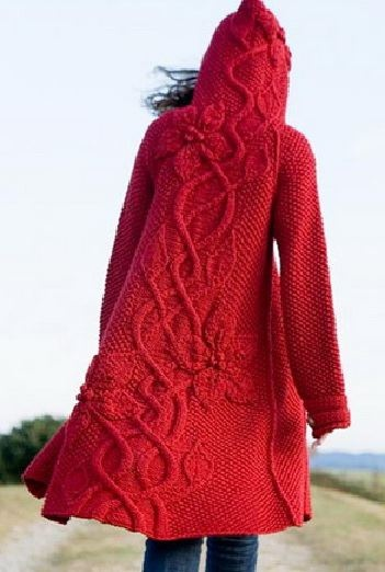 manteau rouge au tricot