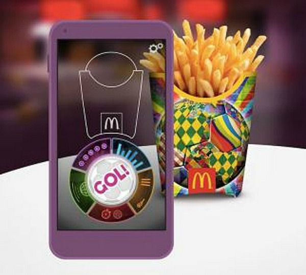 McDonald's augmented reality enabled packaging launches a soccer game app.