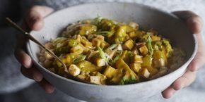 Boodschappen - Curry met paksoi, broccoli en knapperige tofu