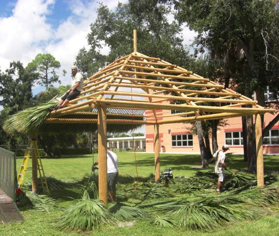 Palmhuts Specialists Are Removing The Wood Structure Of