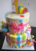 Round 2 Tier First Birthday Cake Pink Bow Pokadots & Stripes.JPG