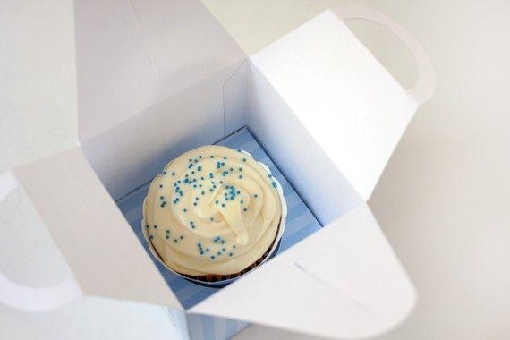 Posh Pink Stripe Printable Cupcake Holder Box от ThePoshEvent