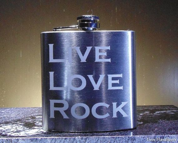 Etched Brushed Stainless Steel Flask  LIVE LOVE